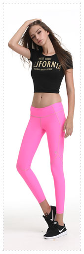 1038963 - Color stitching incision line track pants _Hotpink