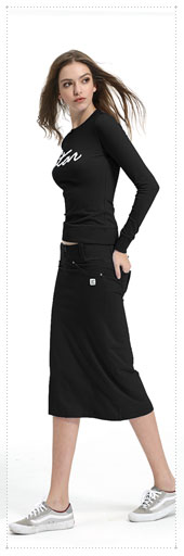 1065788 - Star 아웃 포켓 Skirt Set_Black